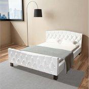 vidaXL Okvir za Krevet Umjetna Koža 140x200 cm Bijeli