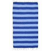 Fouta bombažna brisača 100x175 cm črte, temno modra / bela