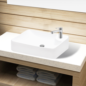VIDAXL bijeli keramicki umivaonik with Faucet Hole White