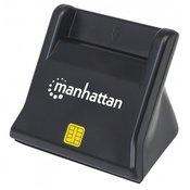 Citac pametnih kartica i SIM kartica MANHATTAN, uspravni, USB, crni