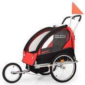 vidaXL 2 u 1 Djecja Prikolica za Bicikl Kolica Crno Crvena