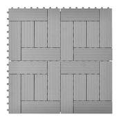 VIDAXL 11 kosov 30x30 cm sivih zunanjih ploščic WPC 1 m2