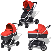 VIDAXL 2v1 otroški voziček, aluminij rdeč-črn