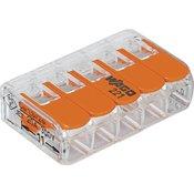 WAGO Spojna stezaljka fleks: 0.14-4 mm2 krut: 0.2-4 mm2 Broj polova: 5 WAGO 221-415 25 ST Prozirna, Narancasta