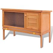 VIDAXL zunanji zajčnik lesena hišica za zajce enojna vrata in podlaga