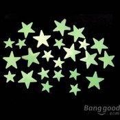 Pakovanje od 35 samolepljivih fluorescentnih zvezdica koje sijaju u mraku