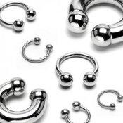 Piercing od nehrđajućeg čelika - sjajna potkova sa osnovnim loptama, različite veličine - Mjere: 1,2 mm x 10 mm x 4 mm