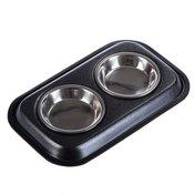 Dvostruka zdjela s nehrdajucim celicnim zdjelama - 2 x 200 ml,   13 cm