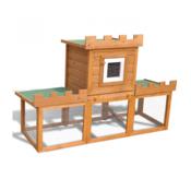 VIDAXL velika zunanja kletka za ljubljenčke/zajčnik z enojno hišo