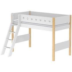 Srednje visoka postelja WHITE s poševno lestvijo