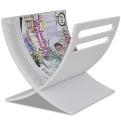 VIDAXL drveni stalak za časopise, bijeli