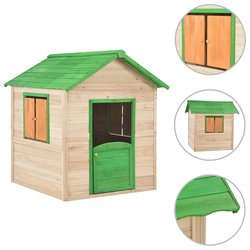 vidaXL Dječja kućica za igru drvena zelena