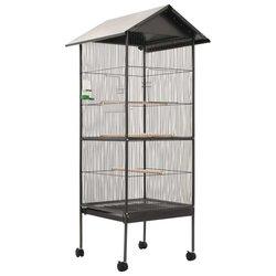 Kavez za ptice s krovom sivi 66 x 66 x 155 cm čelični