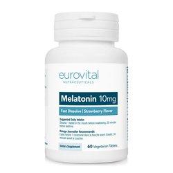 Eurovital tablete z okusom jagod MELATONIN 10mg (hitro topljive), 60 tablet