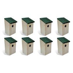 Kućice za ptice 8 kom drvene 12 x 12 x 22 cm