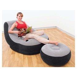 INTEX napihljivi fotelj z naslonom za noge (68564), črn
