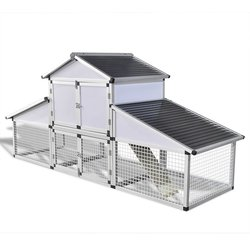 Aluminijski Kokošinjac s Vanjskim Kavezom i Odjeljkom za Gniježđenje