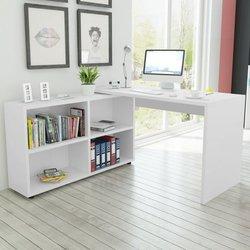 VIDAXL kotna pisalna miza s 4 policami, bela