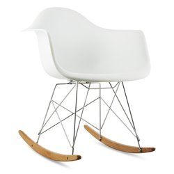 oneConcept Aurel, Bele barve, Gugalni stol, Retro, PP sedež, Brezov les (DTF4-Aurel-White)