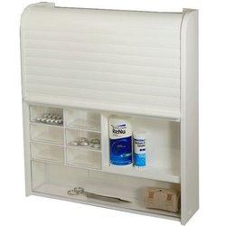 Plastični zidni ormarić za kupatilo sa rolo vratima i 14 fiokica 2409201