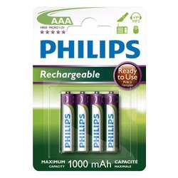 PHILIPS Polnilne baterije R03B4RTU10 AAA, NiMh 1000 mAh, 4 kosi