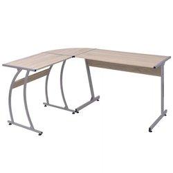VIDAXL kotna miza L-oblike, hrast