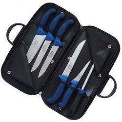 KDS set 5 mesarskih noževa i brusilice Profi Line, plavi