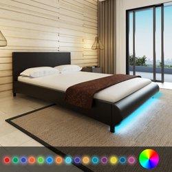vidaXL Črna postelja iz umetnega usnja 140 x 200 cm z LED