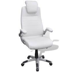 vidaXL Podesivi uredski stolac od umjetne kože - bijeli