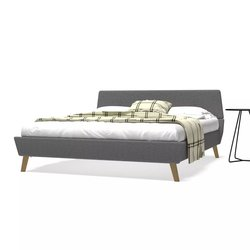 vidaXL posteljni okvir z letvenim dnom blago 160x200 cm svetlo siv