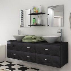 VIDAXL 7-delni komplet kopalniškega pohištva z umivalnikoma, črni