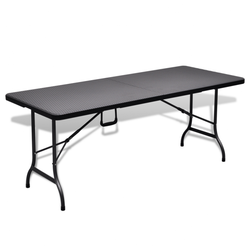 VIDAXL zložljiva vrtna HDPE miza (180cm), črna