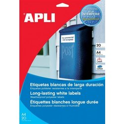 Apli etikete AP001225 otporne na vremenske uvjete, 20 listova, prozirne, 210 x 297 mm, 1 stranica