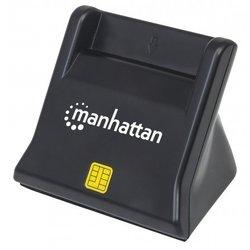 Čitač pametnih kartica i SIM kartica MANHATTAN, uspravni, USB, crni