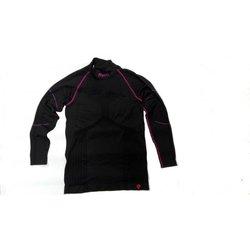Mico Woman Long Sleeves Mock Neck Shirt Primaloft Nero Fucsia L
