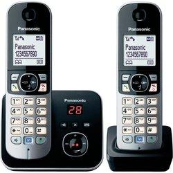 Panasonic Brezžični analogni telefon Panasonic KX-TG6822 Duo avtomatski odzivnik, slušalka za prostoročno telefoniranje, črne, srebrne bar