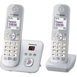 Panasonic Bežični analogni telefon Panasonic KX-TG6822 Duo telefonska sekretarica, telefoniranje slobodnih ruku, srebrne, sive boje