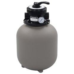 vidaXL Pješčani filtar za bazen s ventilom s 4 položaja sivi 350 mm