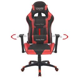 VIDAXL pisarniški stol s športnim sedežem (umetno usnje), rdeč