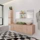 VIDAXL 9-delni komplet kopalniškega pohištva z umivalnikom, bež