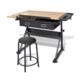 VIDAXL nagnjena risalna miza s stolom in dvema predaloma, črna/rjava